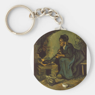 Peasant_Woman_Cooking_by_a_Fireplace jpeg Key Chains