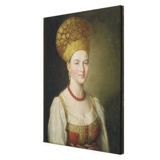 Peasant Woman in Russian Costume, 1784 Canvas Print