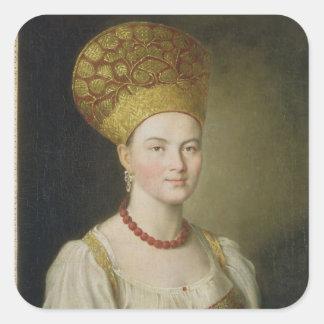 Peasant Woman in Russian Costume, 1784 Square Sticker