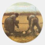 Peasant Woman Planting Potatoes; Vincent van Gogh Round Sticker