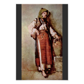 Peasant Woman With Jug By Grigorescu Nicolae Poster
