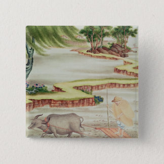 Peasant working in the paddy fields 15 cm square badge
