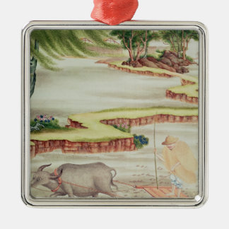Peasant working in the paddy fields christmas ornament