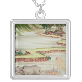 Peasant working in the paddy fields silver plated necklace