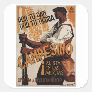 Peasante, enlist in the militia_Propaganda Poster Square Sticker