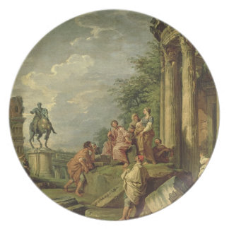 Peasants Amongst Roman Ruins, 1743 (oil on canvas) Dinner Plate