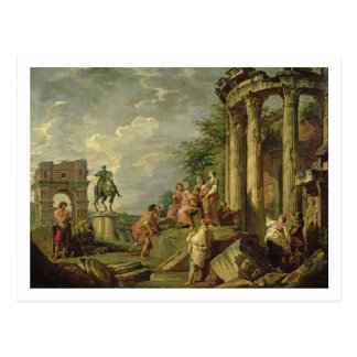 Peasants Amongst Roman Ruins, 1743 (oil on canvas) Postcard