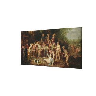 Peasants Brawling Outside a Tavern (oil on panel) Canvas Print