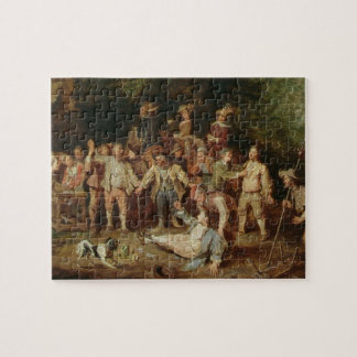 Peasants Brawling Outside a Tavern (oil on panel) Jigsaw Puzzle