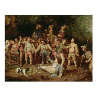 Peasants Brawling Outside a Tavern (oil on panel) Postcard