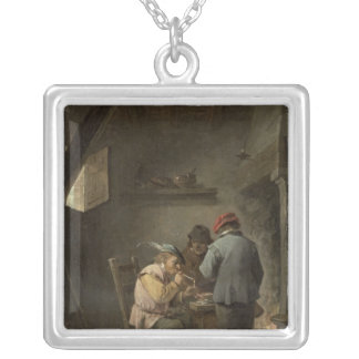 Peasants by an Inn Fire Silver Plated Necklace