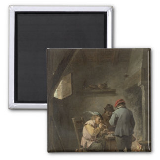 Peasants by an Inn Fire Square Magnet