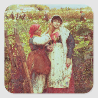 Peasants in a vineyard square sticker