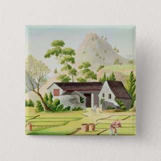 Peasants in the Paddy Fields 15 Cm Square Badge