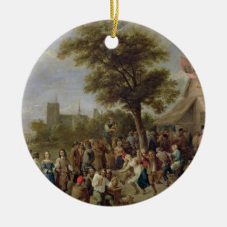 Peasants Merry-Making, c.1650 (oil on canvas) Round Ceramic Decoration
