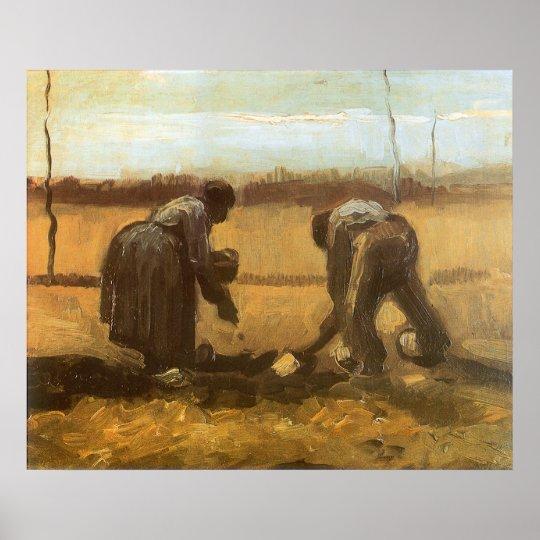 Peasants Planting Potatoes by Vincent van Gogh Poster
