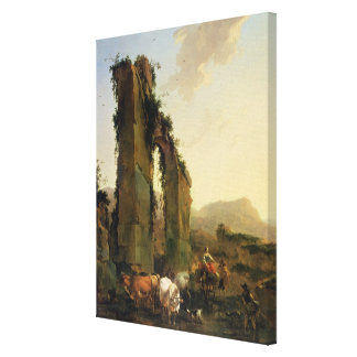 Peasants with Cattle by a Ruined Aqueduct Canvas Print
