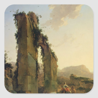 Peasants with Cattle by a Ruined Aqueduct Square Sticker