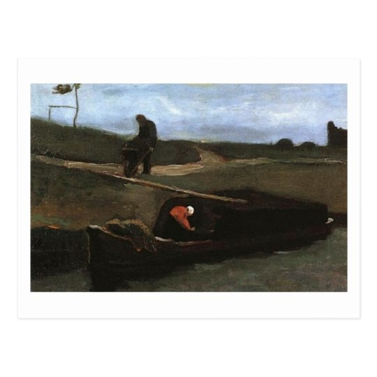 Peat Boat with Two Figures, Vincent Van Gogh Postcard