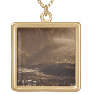 Peat Bog, Scotland, engraved by George Clint (1770 Gold Plated Necklace