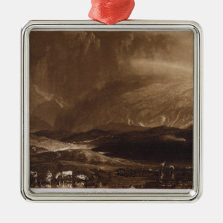 Peat Bog, Scotland, engraved by George Clint (1770 Silver-Colored Square Decoration