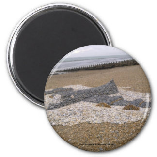 Pebble Aeroplane 6 Cm Round Magnet