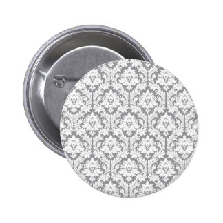Pebble Grey Damask Pattern 6 Cm Round Badge