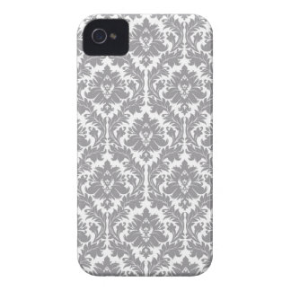 Pebble Grey Damask Pattern Case-Mate iPhone 4 Cases