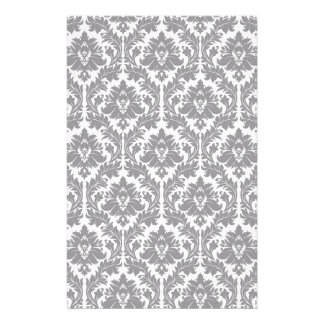 Pebble Grey Damask Pattern Customised Stationery