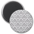 Pebble Grey Damask Pattern Magnet