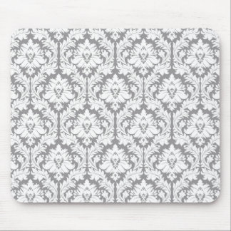 Pebble Grey Damask Pattern Mouse Pad