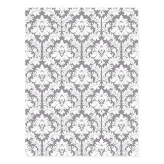 Pebble Grey Damask Pattern Postcard
