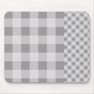 Pebble Grey Gingham pattern Mouse Mat