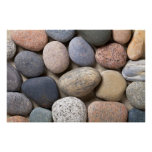 Pebble Stones On Sand For Background Poster