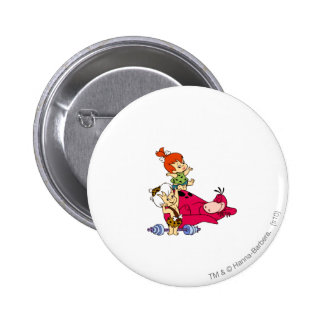 PEBBLES™ and Bam Bam  and Dino Playtime 6 Cm Round Badge