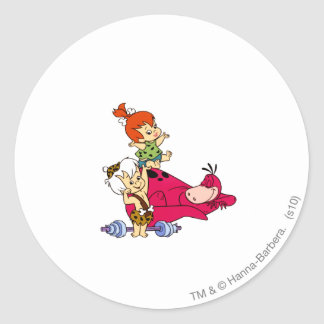 PEBBLES™ and Bam Bam  and Dino Playtime Round Sticker