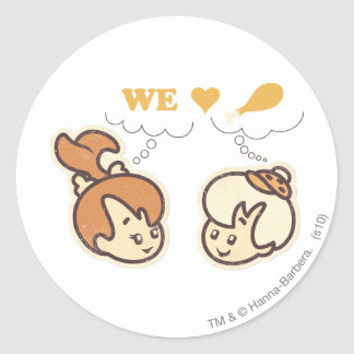 PEBBLES™ and Bam Bam Love Food Classic Round Sticker