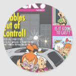 Pebbles and Bam Bam Out of Control Round Stickers