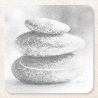 Pebbles Coaster, fine art drawing, pebble stack. Square Paper Coaster