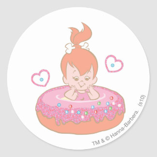 PEBBLES™ in Donut Classic Round Sticker