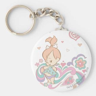 PEBBLES™ Love Swirls Basic Round Button Key Ring