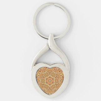 Pebbles Pattern  Metal Keychains, 4 shapes Silver-Colored Twisted Heart Key Ring