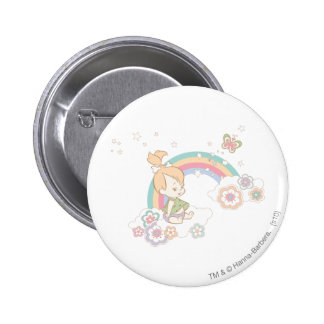 PEBBLES™ Rainbow and Flower Clouds 6 Cm Round Badge