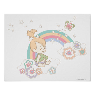 PEBBLES™ Rainbow and Flower Clouds Print