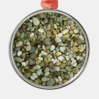 Pebbles Rocks Stones Texture Background Silver-Colored Round Decoration