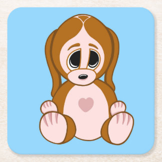Pebbles the Puppy Square Paper Coaster