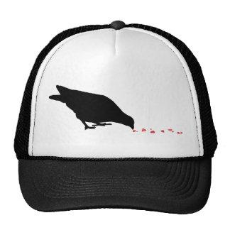 pecking order blackbird red hearts trucker hats
