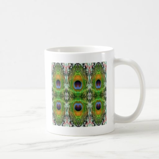 Pecock Feather Pattern - Emerald Green Basic White Mug