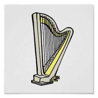 Pedal Harp Blue Tinted Plain Graphic Design Poster