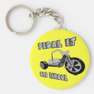 Pedal it old School Basic Round Button Key Ring